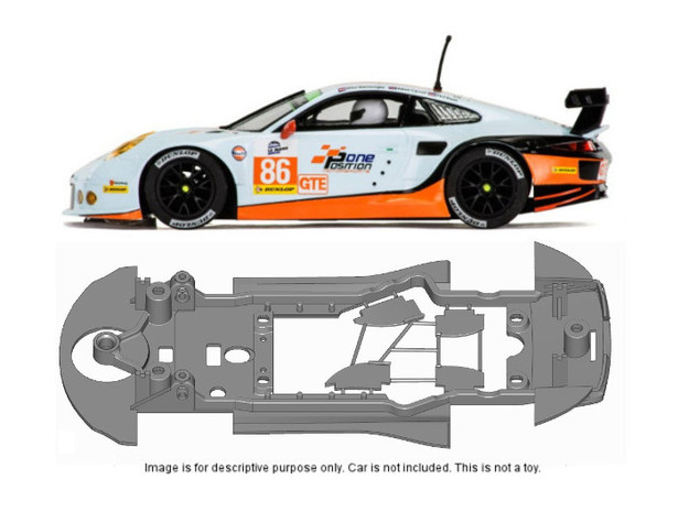 S18-ST2 Chassis for Scalextric Porsche 911 RSR STD in Black Natural Versatile Plastic