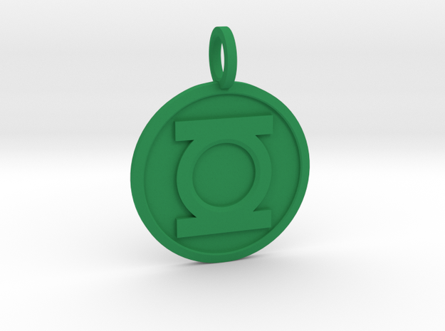 Green Lantern Pendant in Green Strong & Flexible Polished