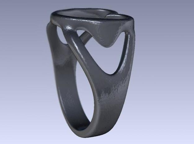 3-Heart Ring 3d printed Rendered side view