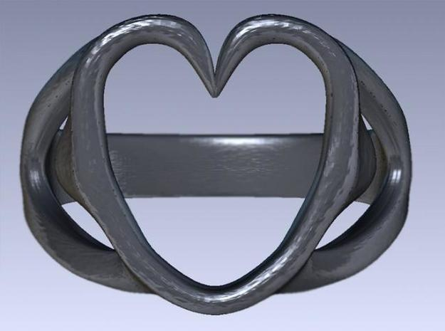 3-Heart Ring 3d printed Rendered top view