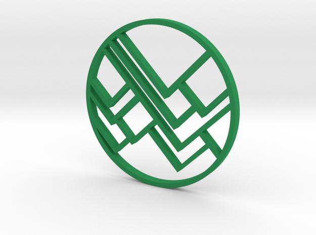 Mountain Pendant in Green Processed Versatile Plastic