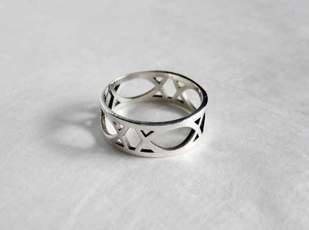 Art Deco Styled Ring  in Polished Silver
