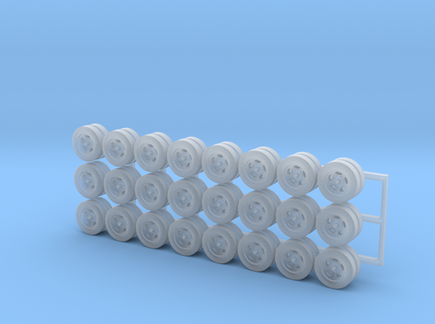 Tractor Trailer Wheels & Tires V3 - 24 Pack in Smooth Fine Detail Plastic