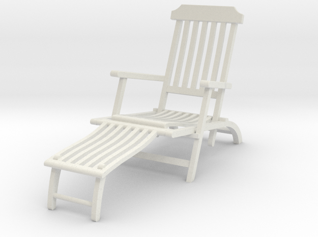 Deck Chair Ergonomic various scales in White Natural Versatile Plastic: 1:24