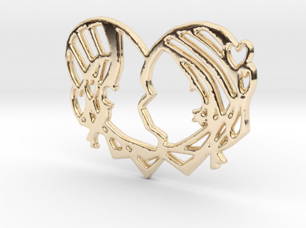 'Just Kiss me' in 14k Gold Plated Brass