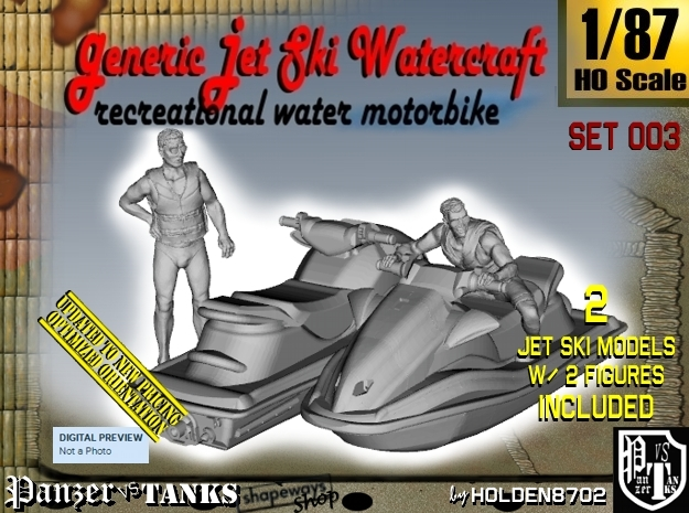 1-87 Generic Jet Ski w Figures Set003 in Frosted Ultra Detail