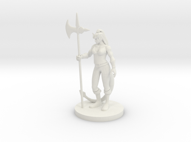 Tiefling  Female Barbarian in White Strong & Flexible