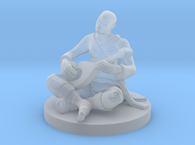 Monk Bard Jammin Out in Smooth Fine Detail Plastic