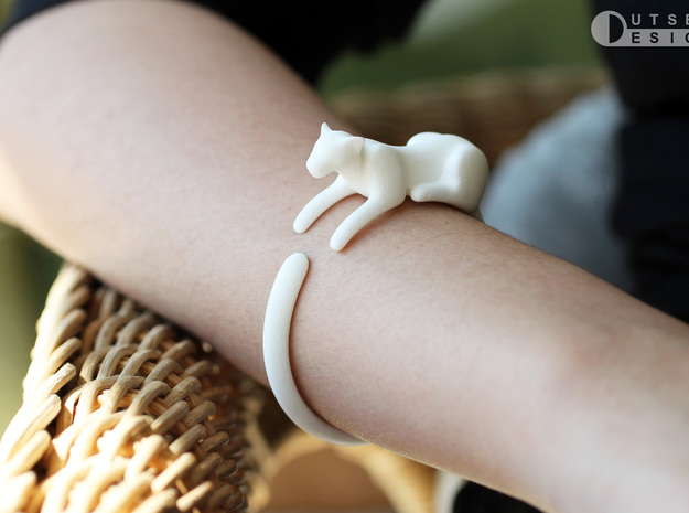 Feline Band - Bangle version - Size 55 mm in White Processed Versatile Plastic