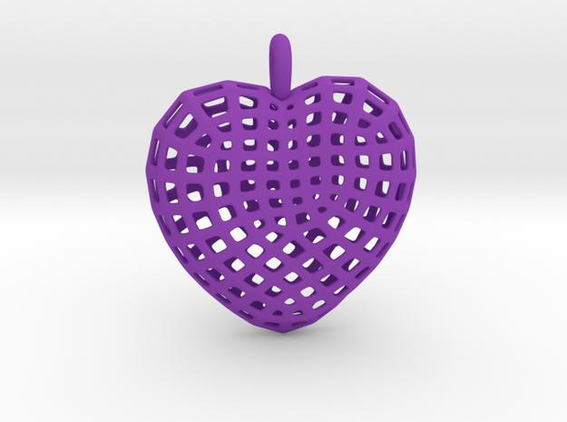 06 - Mesh Heart  in Purple Processed Versatile Plastic: Large