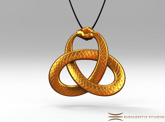 Ouroboros Triquetra Pendant 5.5cm in Natural Brass