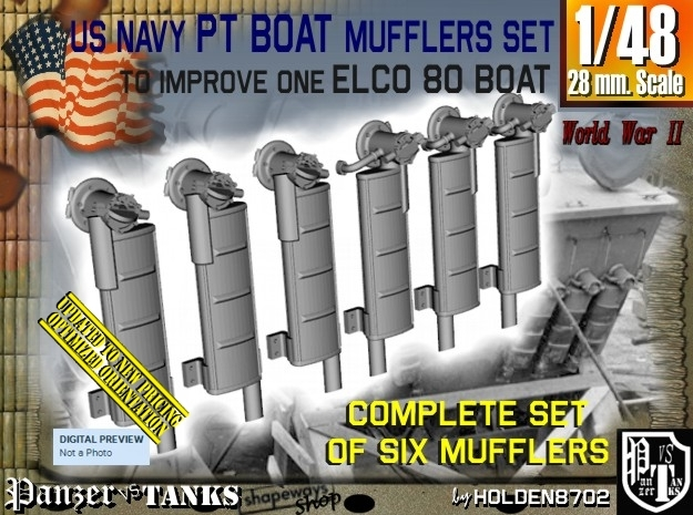 1/48 Elco PT Boat Mufflers Set001 in Frosted Ultra Detail