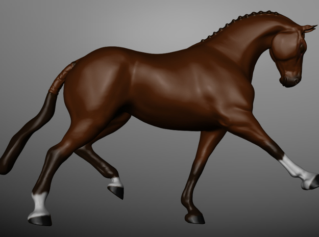 Horse Trotting 3d printed A 3D Render of the model, colored