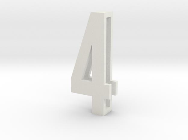 Choker Slide Letters (4cm) - Number 4 in White Natural Versatile Plastic