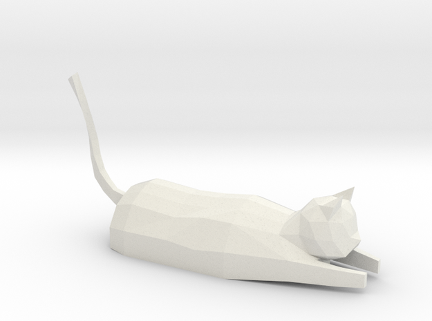 Decorative low-poly cat in White Natural Versatile Plastic