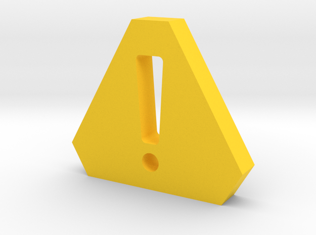 Caution Game Piece in Yellow Strong & Flexible Polished