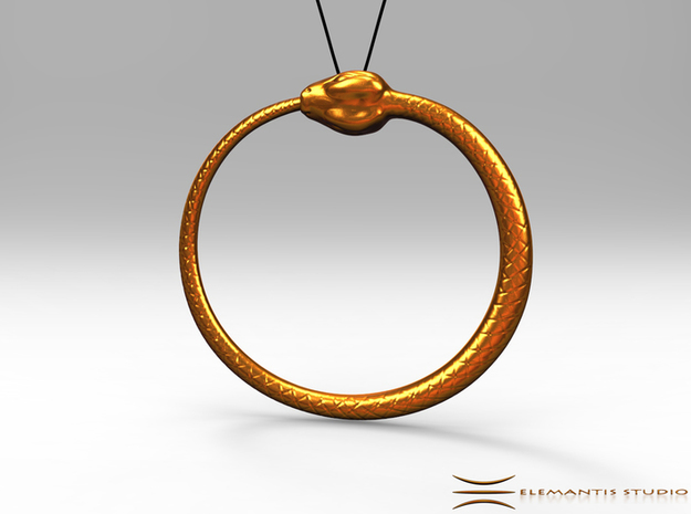 Ouroboros Pendant 6.2cm in Raw Brass