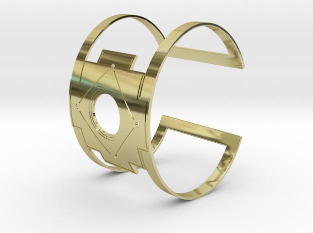 Inca Cross Wide Cuff Bracelet Simple in 18k Gold Plated Brass: Small