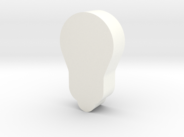 Light Bulb Game Piece in White Strong & Flexible Polished