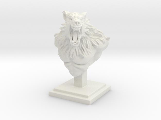 "4"" Tall Werewolf Creature Bust in White Natural Versatile Plastic"