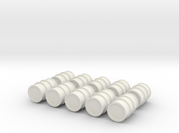 1/56th scale Oildrums (10 pcs) in White Strong & Flexible