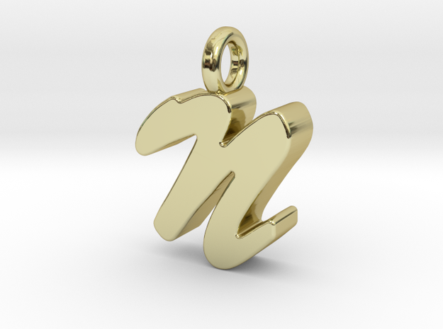 N - Pendant 3mm thk. in 18k Gold Plated Brass