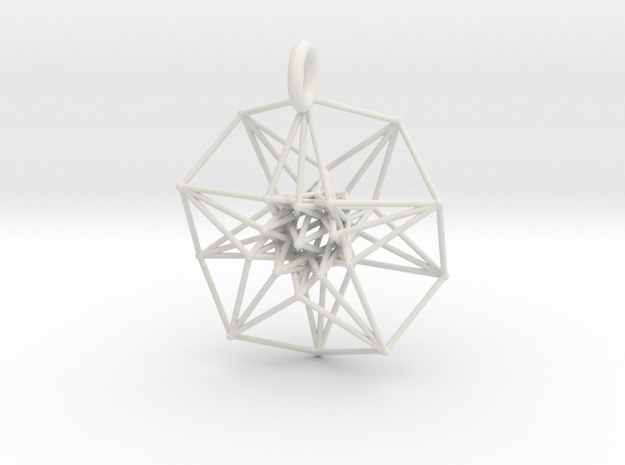 5d hypercube toroidal projection -37mm  in White Natural Versatile Plastic