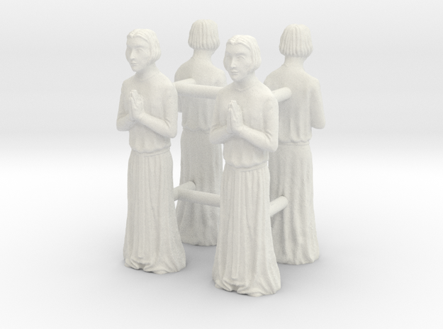 Medieval Saint statues x4 in White Natural Versatile Plastic
