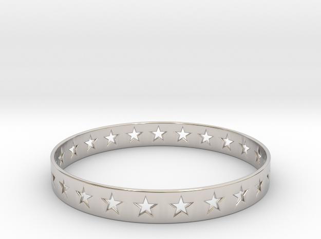Stars Around (5 points, cut through) - Bracelet in Rhodium Plated Brass: Small