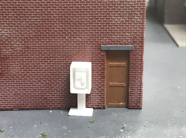 Payphone Booth- HO Scale in White Natural Versatile Plastic