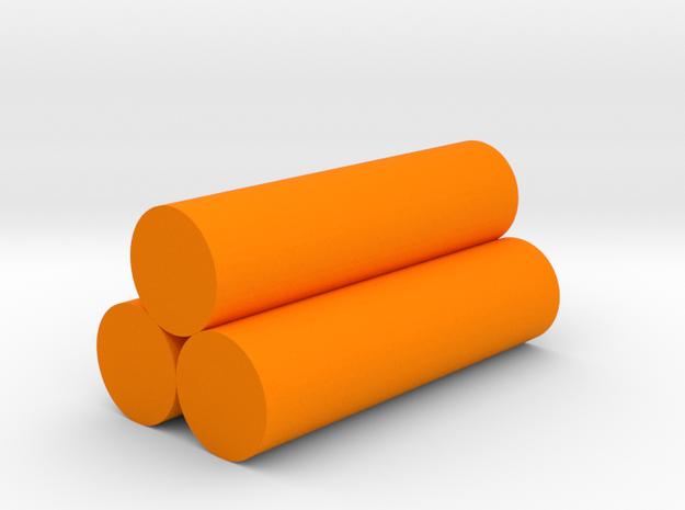 Logs Game Piece in Orange Processed Versatile Plastic