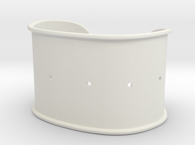 "Cuff Band Only - Bent (for wrists 2.5""x1.5"") in White Natural Versatile Plastic"