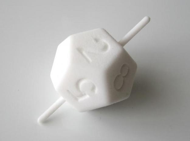 D10 Axis Dice 3d printed In Polished White Strong and Flexible (other view)
