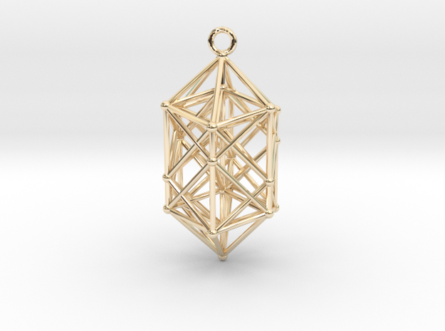 Hyperdiamond projection of 24 cell Octoplex 40mm in 14k Gold Plated Brass: Medium