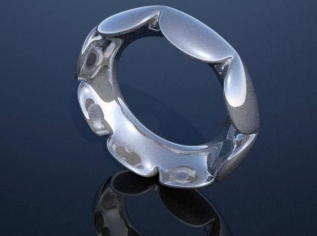 Flower Ring - Size 6.5 3d printed Rendered in Silver