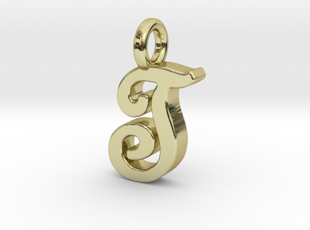 T - Pendant 2mm thk. in 18k Gold Plated Brass