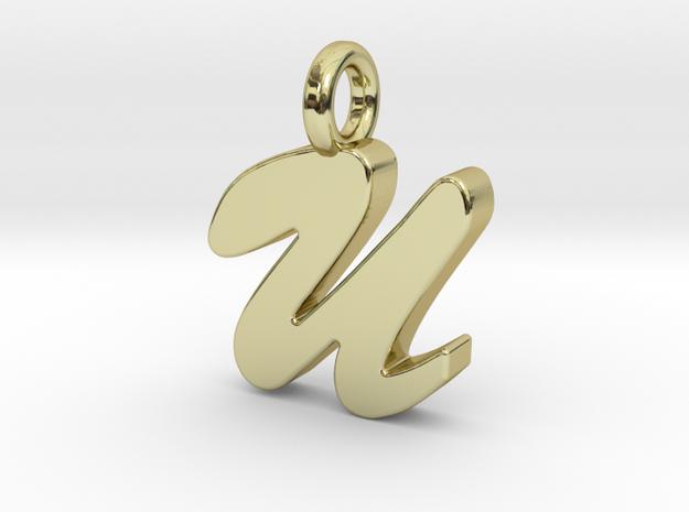 U - Pendant 2mm thk. in 18k Gold Plated Brass