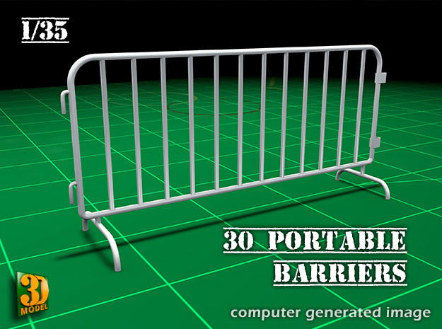 Portable barrier 30x (1/35) in Smooth Fine Detail Plastic