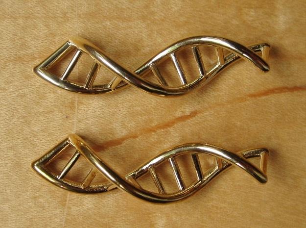 DNA Earrings in Polished Brass