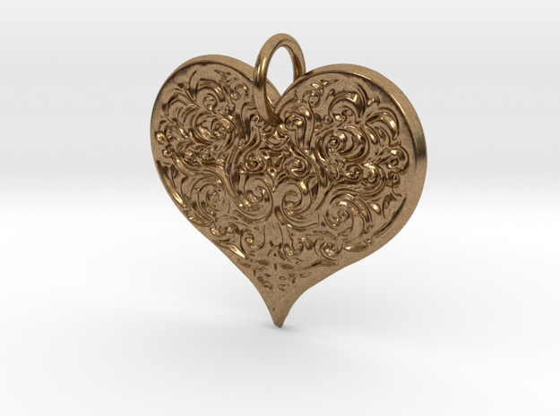 Filigree Engraved Heart pendant in Raw Brass