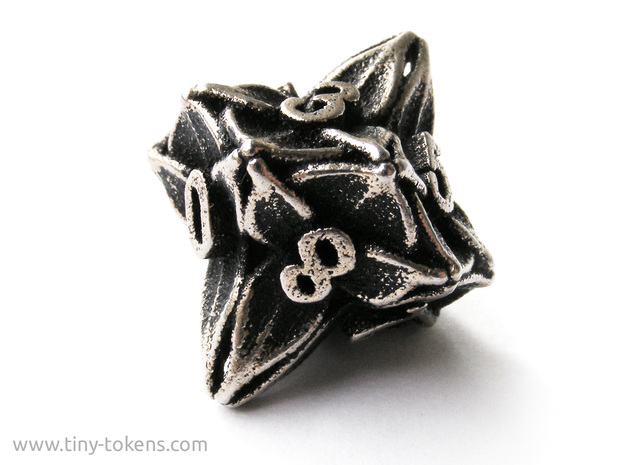Floral Dice – D10 Gaming die in Polished Bronzed Silver Steel