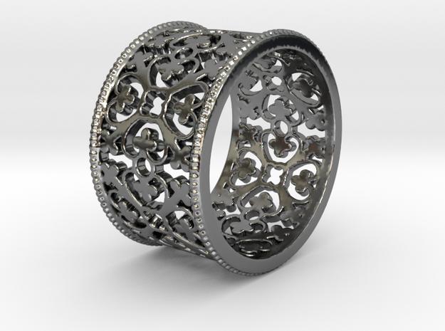 QUADRIFOGLIA bords grains Ring Size 7.5 in Fine Detail Polished Silver: 7.5 / 55.5