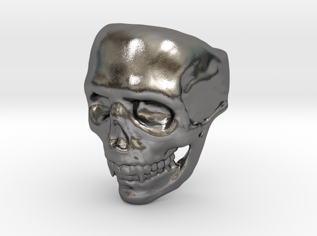 Big Bad Skull Ring in Polished Nickel Steel