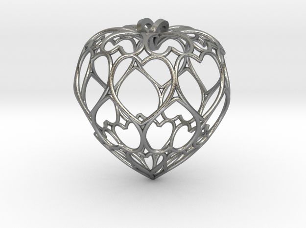 Filigree Round Drop Pendant in Natural Silver