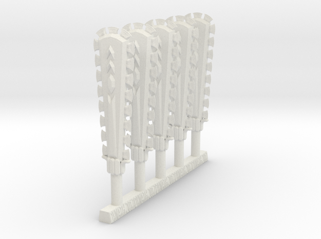 Techno Macuahuitl (x5) in White Natural Versatile Plastic