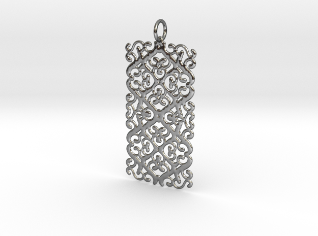 Double Plaque ARABESQUES Pendant in Fine Detail Polished Silver