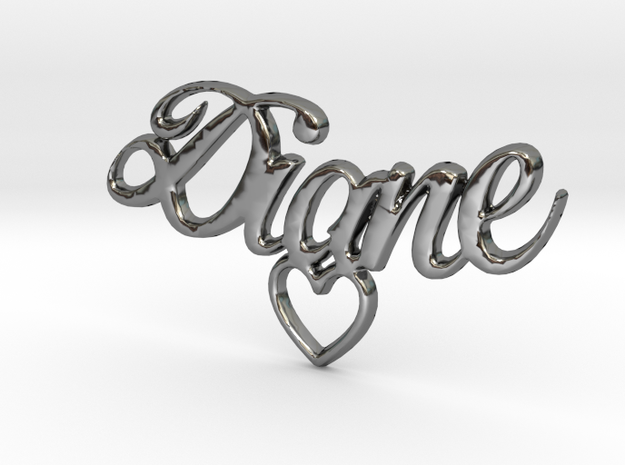 Diane Coeur Pendant in Fine Detail Polished Silver