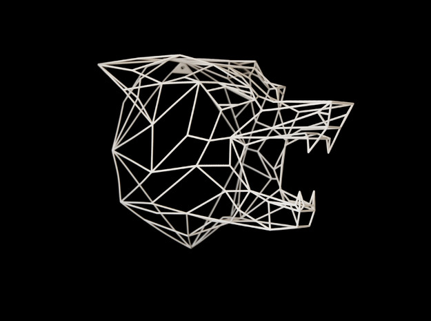 Wire Frame Wolf decor-XL in White Strong & Flexible: Extra Large