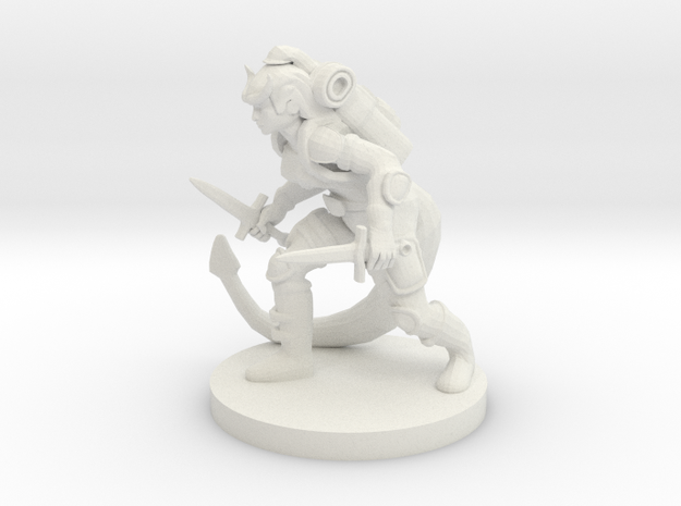 Tiefling Female Rogue in White Natural Versatile Plastic