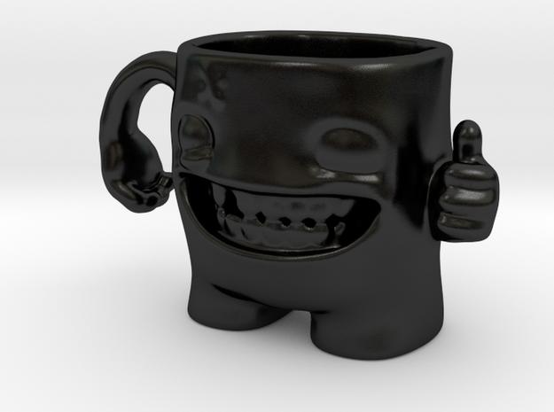 Happy Monster Mug in Matte Black Porcelain